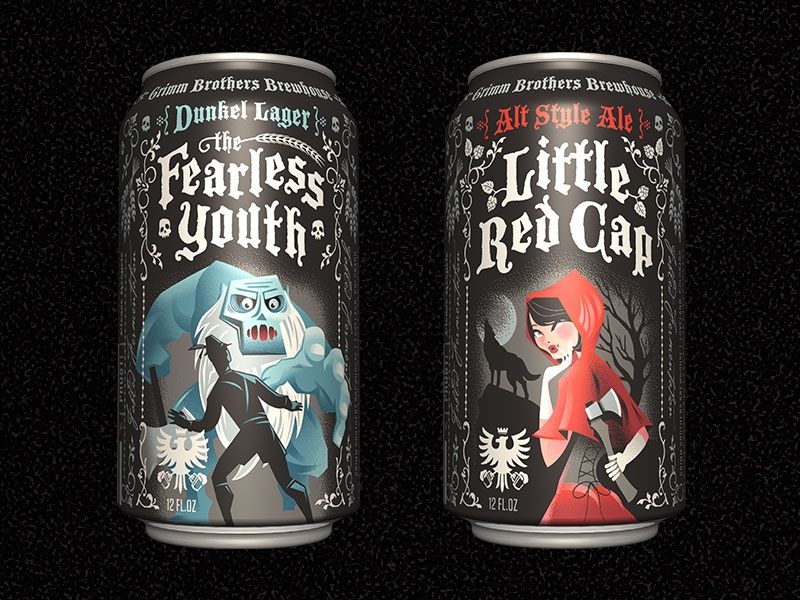 Grimm Brothers Brewhouse Cans craft beer illustration packaging design identity