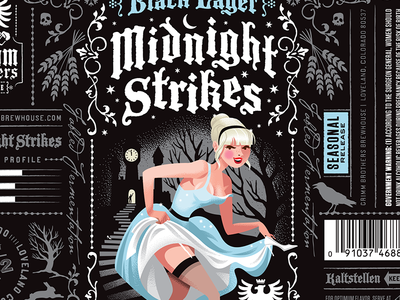 Grimm Brothers Midnight Strikes Black Lager craft beer illustration packaging design label design