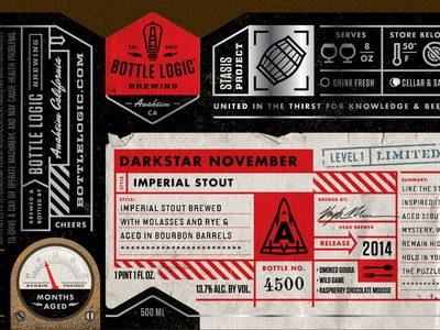 Bottle Logic Darkstar November craft beer illustration packaging design label design