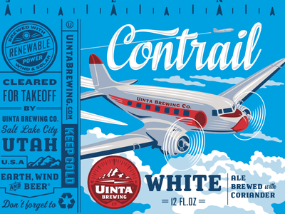 Uinta Contrail White Beer - Rejected 1 beer can illustration packaging design craft beer rejected designs rejects