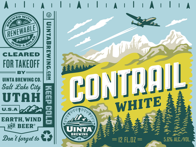 Uinta Contrail White Beer - Rejected 3 beer can illustration packaging design craft beer rejected designs rejects