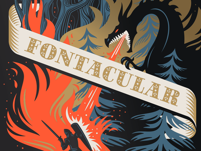 Fontacular 2015 Poster typography fonts epic knights dragons dragon illustration