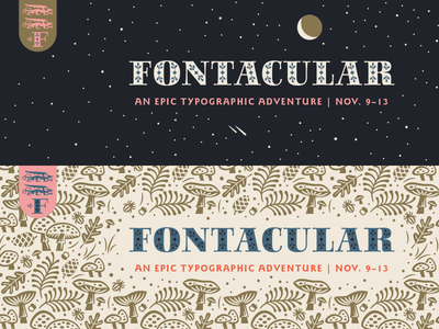 Fontacular Homepage Banners dragons fonts typography mushrooms stars homepage banner illustration