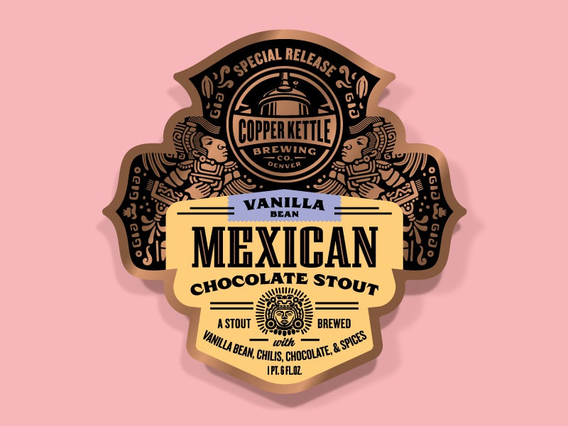 Copper Kettle Mexican Chocolate Stout Variants - Vanilla Bean beer label illustration label design packaging design badge craft beer