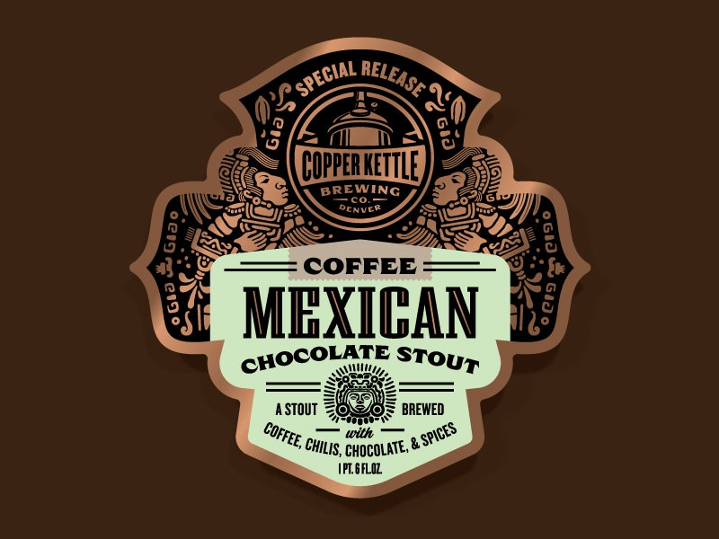 Copper Kettle Mexican Chocolate Stout Variants - Coffee beer label illustration label design packaging design badge craft beer