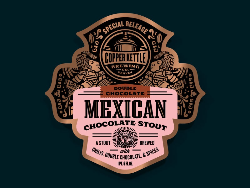 Copper Kettle Mexican Chocolate Stout Variants - 2x Chocolate beer label illustration label design packaging design badge craft beer f