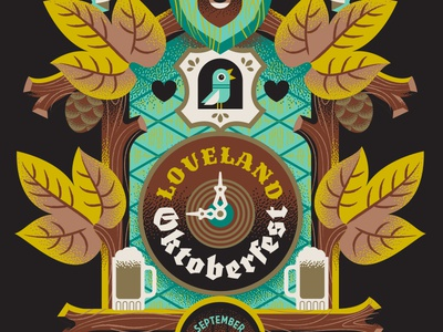 Grimm Brothers Loveland Oktoberfest craft beer poster design brand identity event branding cuckoo clock illustration oktoberfest