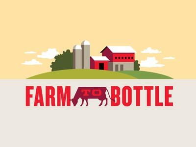 Turner's Farm to Bottle Lockup vector illustration pennsylvania milk dairy cow farm