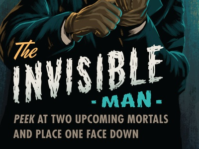 Campy Creatures Invisible Man Type film noir pulp art pulp game art playing card illustration invisible invisible man custom type typography