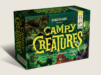 Campy Creatures Game Box creature creatures monsters monster illustration pulp art pulp game art packaging design