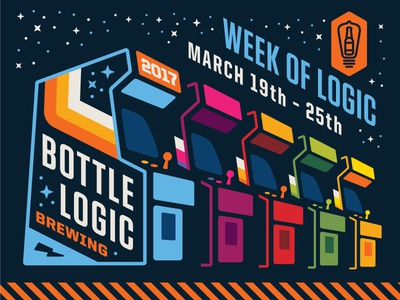 "Bottle Logic ""Week of Logic"" Banner poster banner illustration logo design week of logic retro gaming joystick arcade cabinet video games video game arcade craft beer"
