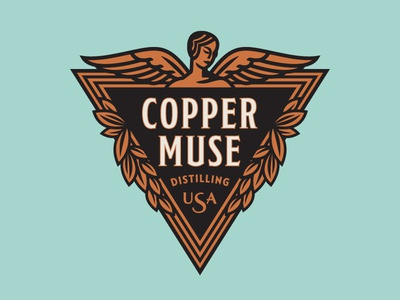 CopperMuse Distillery Logo - Abandoned Concept brand identity logo art deco muse angel