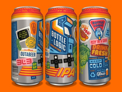 Bottle Logic UP UP IPA Can retro gaming stickers video game arcade can wrap beer can packaging design craft beer