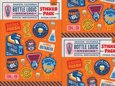 Bottle Logic 2017 Week of Logic Sticker Sheets barrel arcade 80s retro science can hop dna illustration icons craft beer stickers