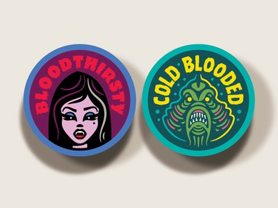 Campy Creatures Vampire & Swamp Creature Stickers horror cold-blooded bloodthirsty stickers illustration swamp creature vampire
