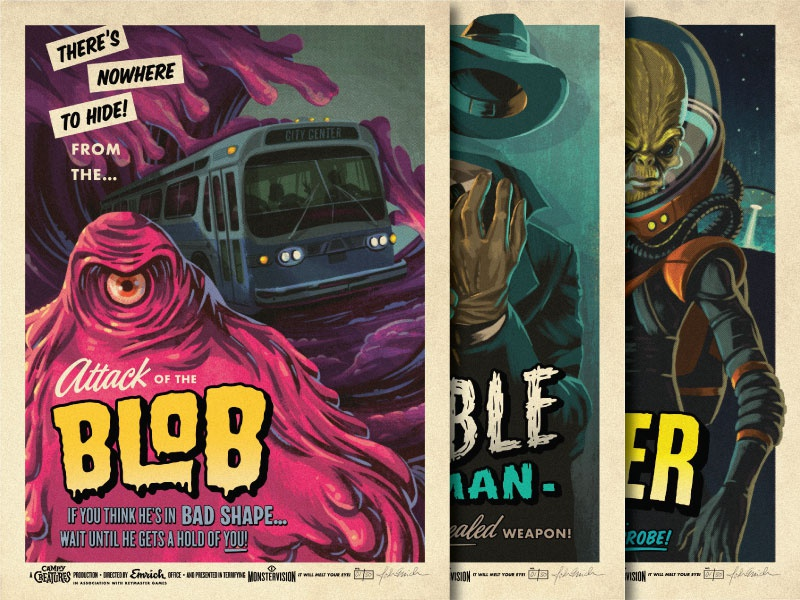 Creature Series 2 - 18 x 24 Screen Prints screen print prints posters the invader invisible man the blob campy creatures