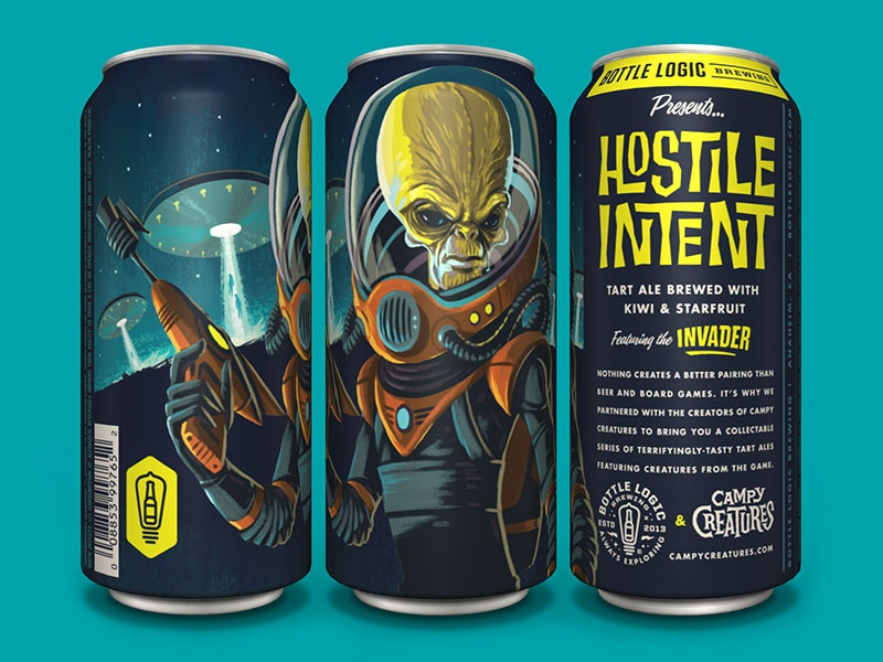 Bottle Logic Campy Creatures Hostile Intent Tart Ale tart ale invader alien illustration packaging design craft beer
