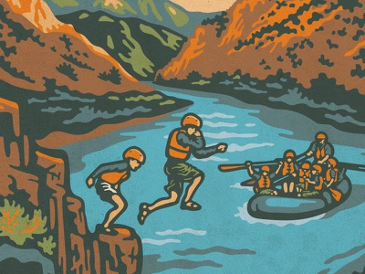 Echo Canyon Family Float Rafting Expedition colorado mountains river canyon vintage illustration rafting