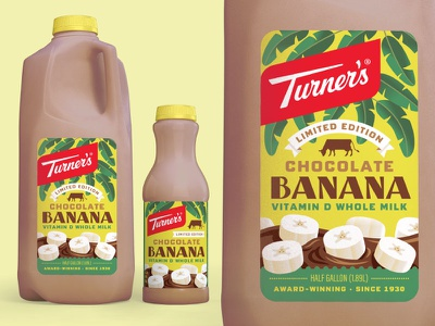 Turner's Chocolate Banana craft milk craft dairy illustration packaging design banana chocolate milk milk