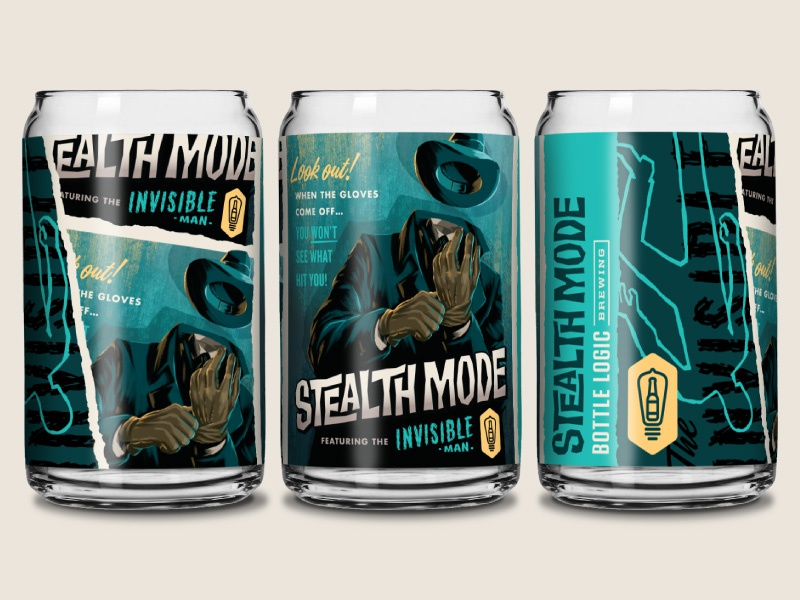 Campy Creatures Stealth Mode Pint Glass pulp illustration game art glassware beer can craft beer campy creatures invisible man