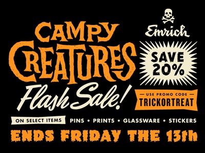 Campy Creatures Halloween 2017 Flash Sale stickers prints screen prints halloween enamel pins pins campy creatures sale