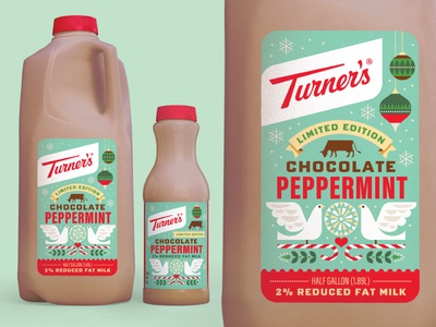 Turner's Chocolate Peppermint Milk peppermint candy cane holidays christmas packaging design illustration