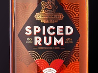 CopperMuse Distillery Spiced Rum spirits logo design label design packaging design spiced rum rum design rumpackaging
