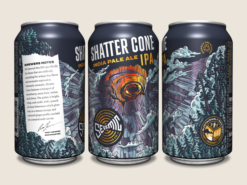 Seismic Brewing Co. Shatter Cone IPA shatter cone crater illustration packaging design beer can craft beer