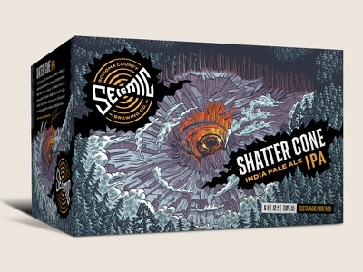 Seismic Brewing Co. Shattercone IPA 6-pack shatter cone packaging design illustration 6 pack craft beer