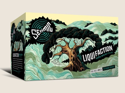 Seismic Brewing Co. Liquifaction 6-pack illustration liquefaction oak cracks earthquake tree craft beer 6-pack