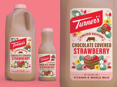 Turner's Chocolate Covered Strawberry Milk illustration flowers valentines day chocolate strawberry packaging design dairy milk