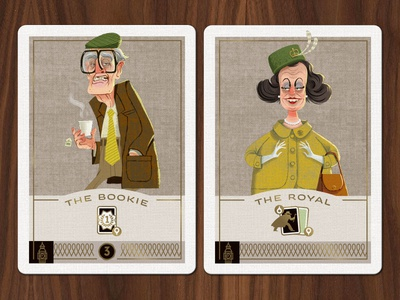 Caper Thieves - Bookie and Royal Cards playing cards character illustration game design