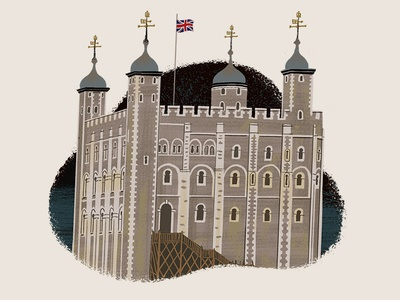 Caper Districts - Tower of London (1/23) game design card game gouache illustration tower of london game art