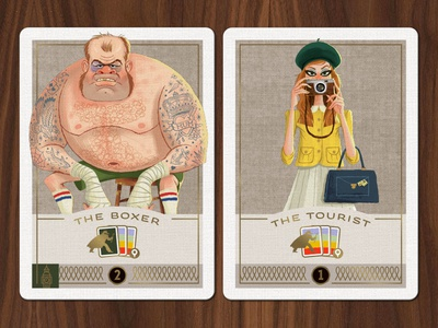 Caper Thieves - Boxer and Tourist Cards game art card game character illustration thief character design
