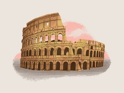 Caper Districts - Colosseum (2/23) playing card game art illustration travel illustration rome caper game