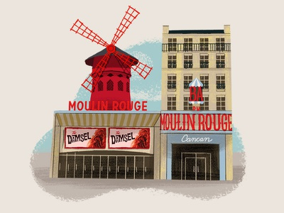 Caper Districts - Moulin Rouge (9/23) game art travel illustration midcentury moulin rouge