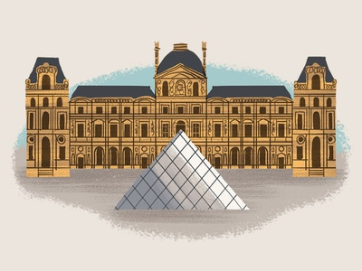 Caper Districts - The Louvre (10/23) architectural illustration paris louvre illustration game art