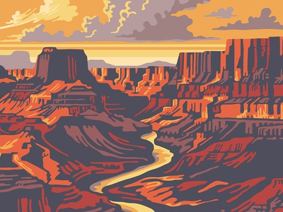 CTR Headwear Artist Series - Canyon multi hat apparel apparel design outdoor illustration canyon illustration