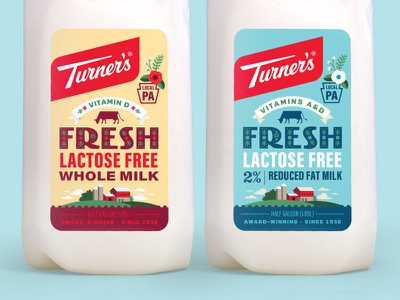 Turner's Lactose Free Milk lactose free milk packaging design dairy