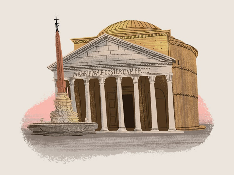 Caper Districts - The Pantheon (17/23) game art rome illustration game illustration travel illustration pantheon