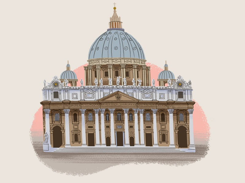 Caper Districts - The Vatican (18/23) st. peters vatican city vatican italy rome game illustration travel illustration