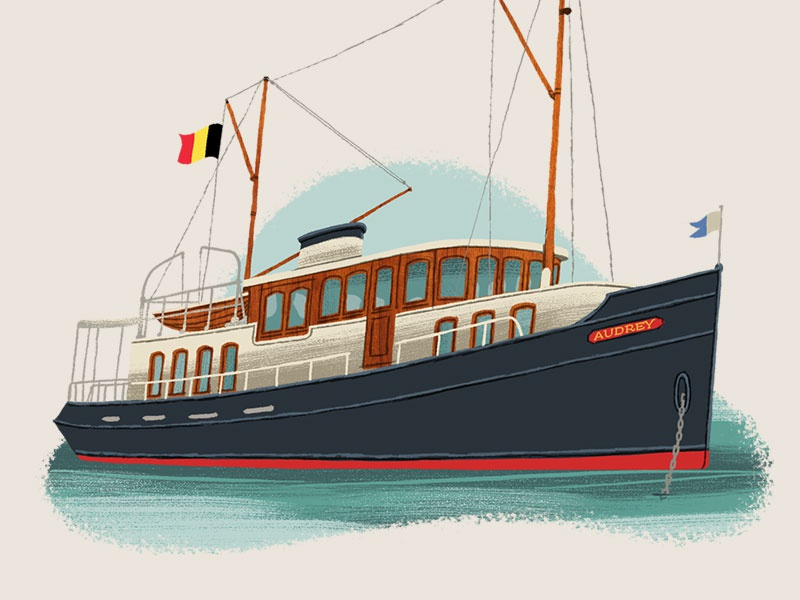 Caper Districts - The Yacht (23/23) illustration board game art boat game art travel illustration yacht