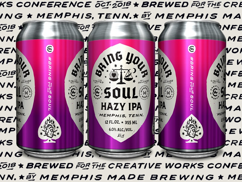 Creative Works - Bring Your Soul Hazy IPA - Cans beer can typography illustration package design craft beer