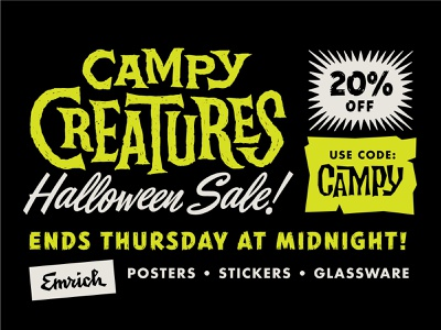 Campy Creatures Halloween 2018 Sale stickers poster screen print pint glass halloween horror movies horror movie