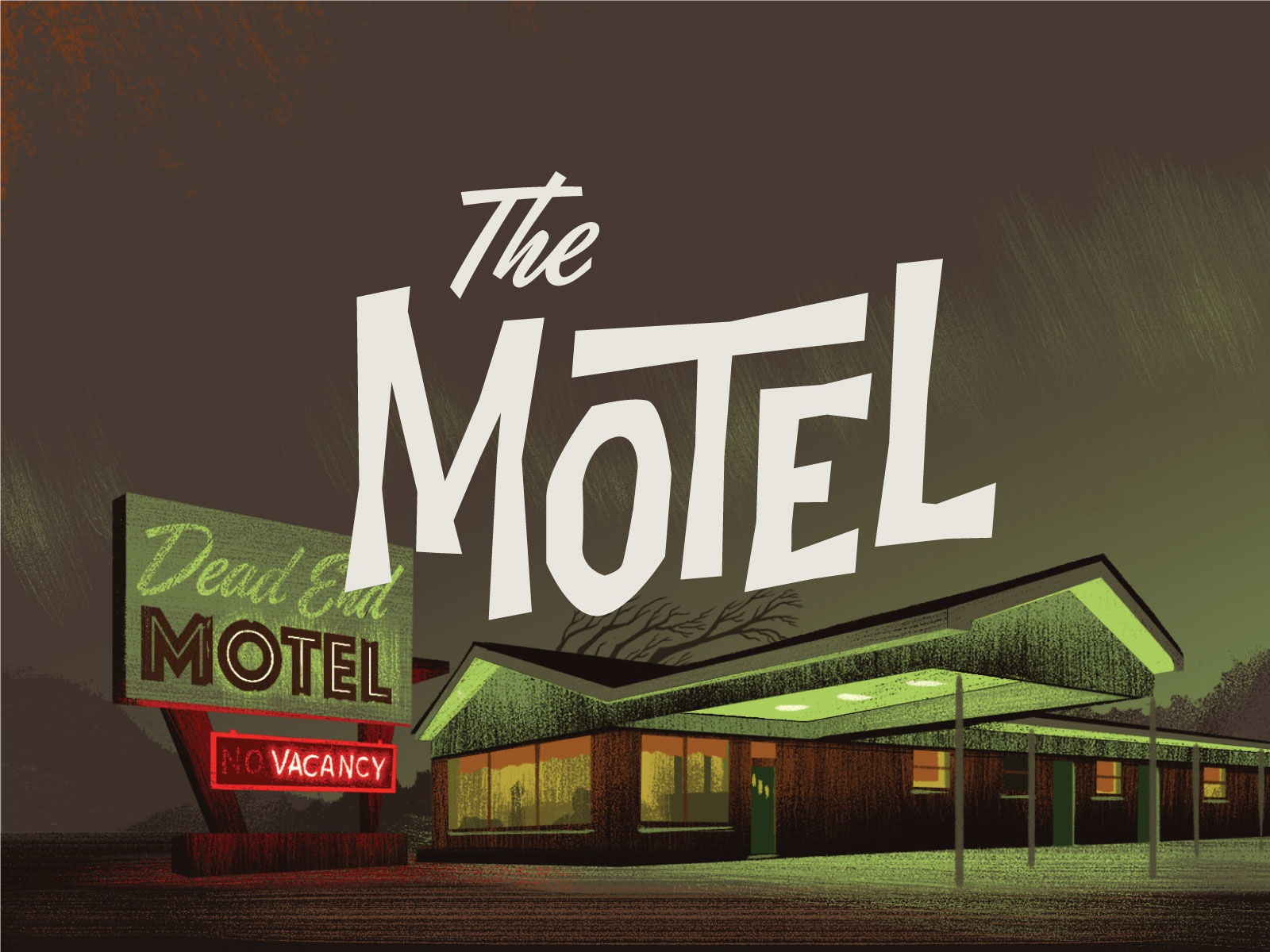 Campy Creatures Locations (4/9) - The Motel horror card game boardgame motel game art pulp art illustration