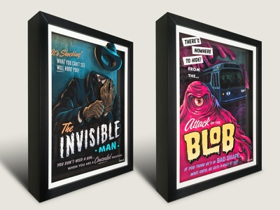 Campy Creatures 3-D Shadowboxes (Invisible Man & Blob) classic horror b-movie horror movie artworkforsale halloween invisible man blob campy creatures print shadowbox artwork