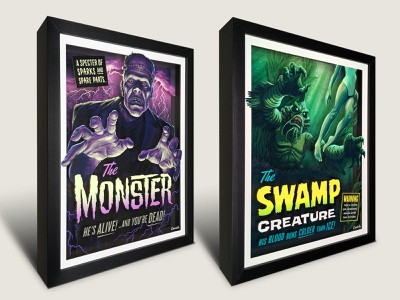 Campy Creatures 3-D Shadowboxes (The Monster & Swamp Creature) creature creatures monsters frankenstein b-movie pulp illustration campy creatures art for sale shadowbox movie poster classic horror pulp art illustration