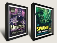 Campy Creatures 3-D Shadowboxes (The Monster & Swamp Creature)
