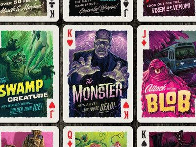 Campy Creatures Deadluxe Playing Cards - Faces custom playing cards campy creatures halloween blob frankenstein creatures monsters face cards playing cards