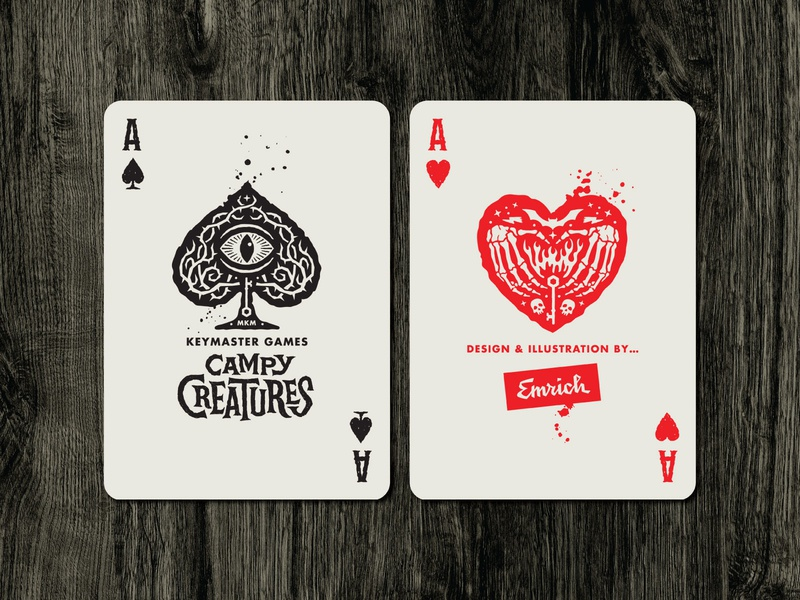 Campy Creatures Deadluxe Playing Cards - Aces spooky halloween monsters inc creatures campy creatures monsters illustration custom type playing cards aces ace of spades hearts ace